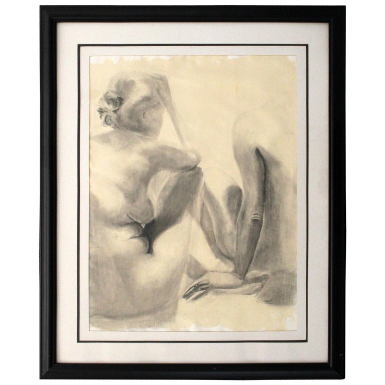 Contemporary Modern Framed Charcoal Drawing Signed Drewe Nude Figure Drawing For Sale