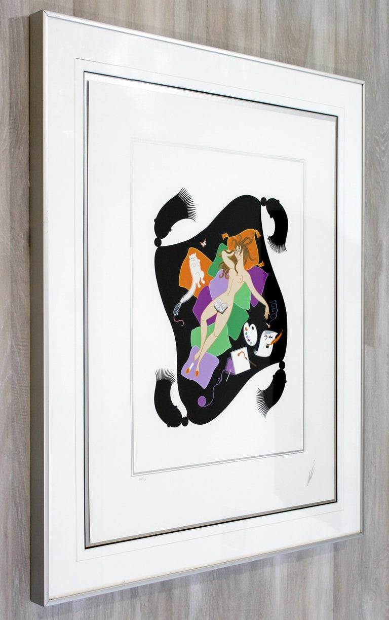 Late 20th Century Contemporary Modern Framed Erte 7 Deadly Sins Gluttony Signed Serigraph Nude For Sale