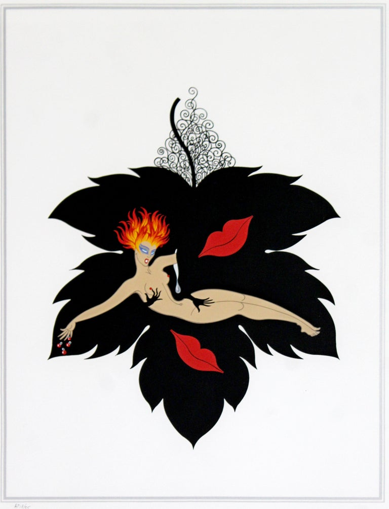 French Contemporary Modern Framed Erte 7 Deadly Sins Lust Signed Serigraph Nude, 1980s For Sale