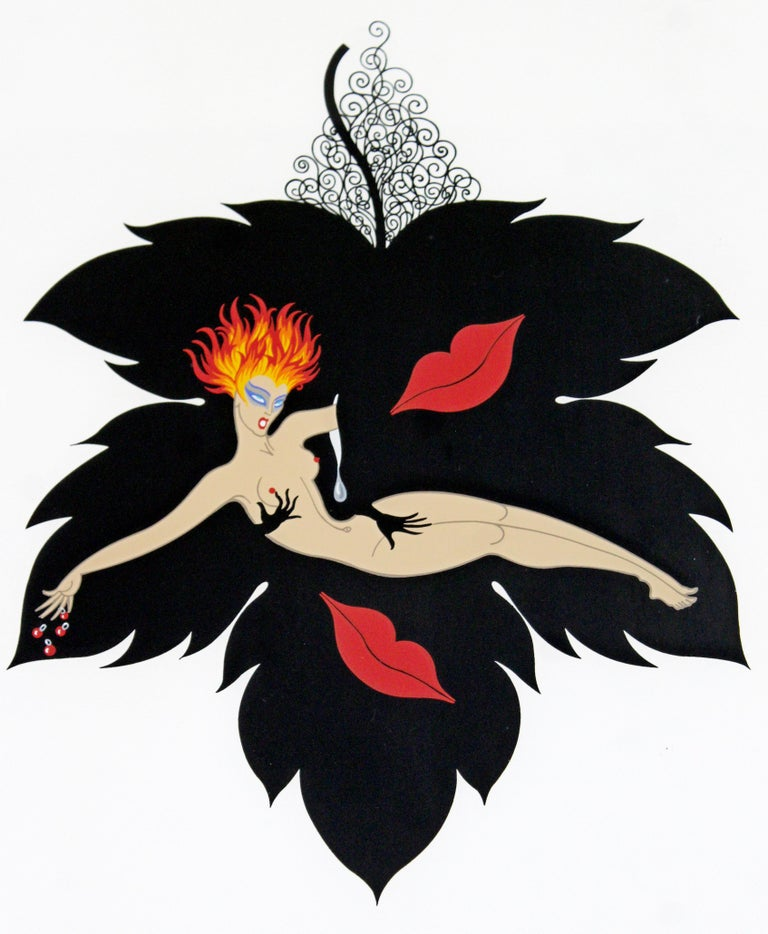Contemporary Modern Framed Erte 7 Deadly Sins Lust Signed Serigraph Nude, 1980s In Good Condition For Sale In Keego Harbor, MI