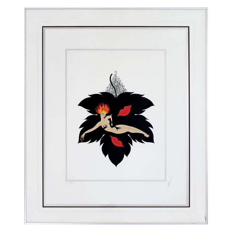 Contemporary Modern Framed Erte 7 Deadly Sins Lust Signed Serigraph Nude, 1980s For Sale