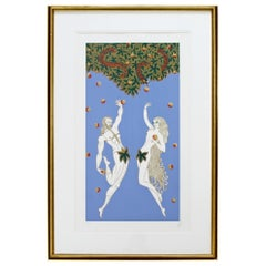 Contemporary Modern Framed Erte Adam & Eve Serigraph Signed & Numbered 169/300