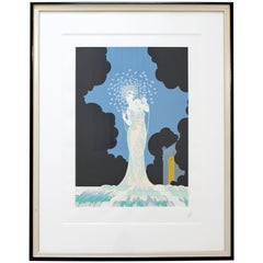 Contemporary Modern Framed Erté Fantasia Serigraph Signed & Numbered 1982 37/125