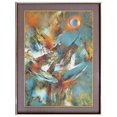 Contemporary Modern Framed Etching Woven Paper Signed Leonardo Nierman 1980s COA