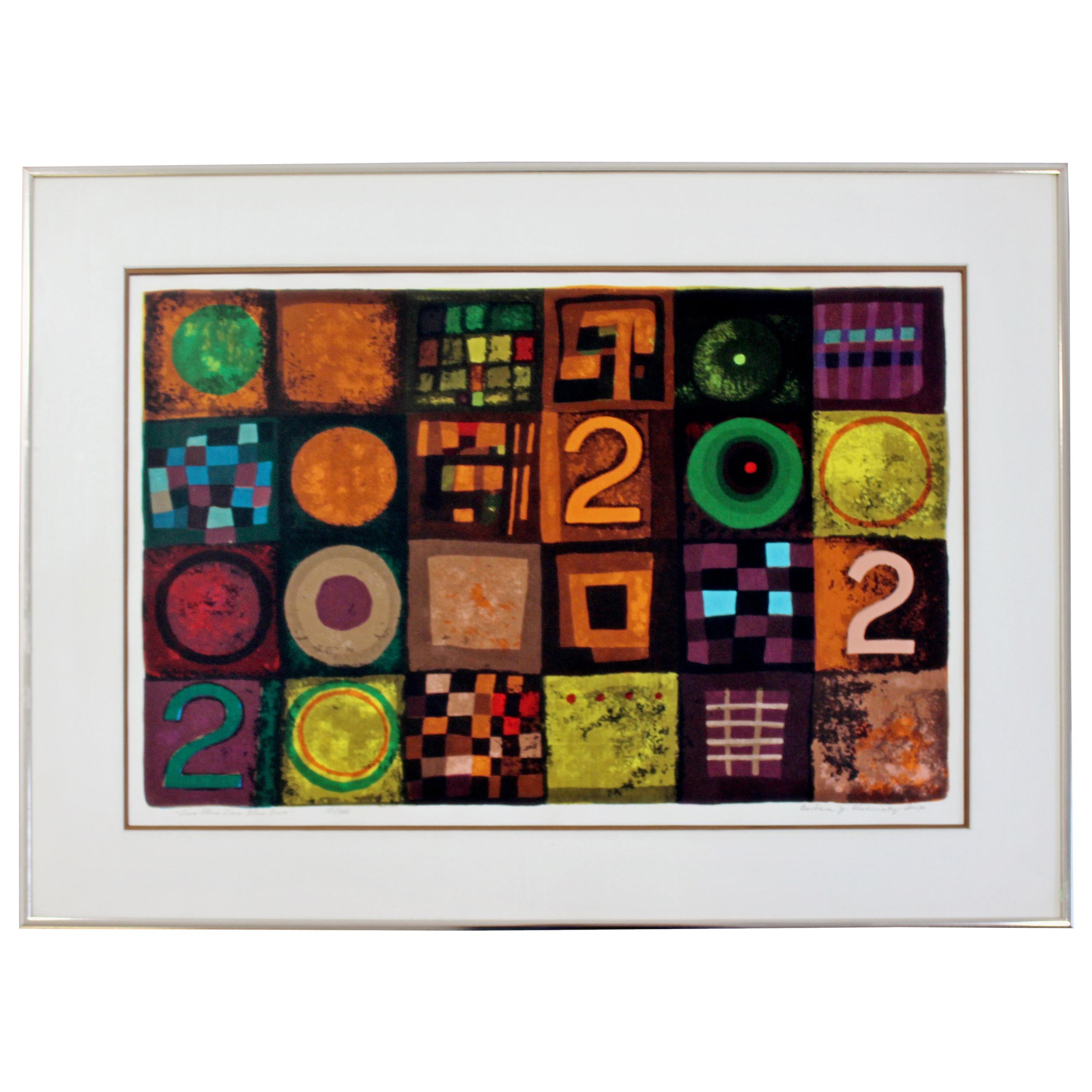 Contemporary Modern Framed Lithograph Signed Barbara Oldsheusky 181/300