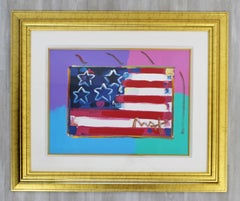 Contemporary Modern Framed Peter Max Flag with Heart Signed Mixed Media