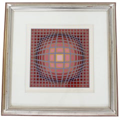 Contemporary Modern Framed Pop Op Art Litho Vasarely Titan C Numbered 206/300