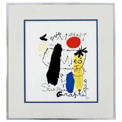 Contemporary Modern Framed Poster Print Joan Miro Galerie Maeght Graphique 1980s