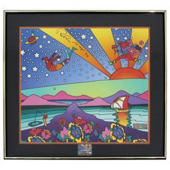 Contemporary Modern Framed Poster Signed Peter Max with Stamps 1992 COA