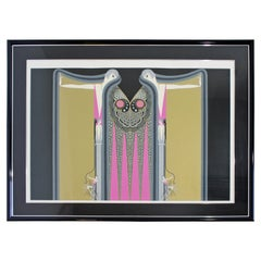 Contemporary Modern Framed Serigraph Twin Sisters Signed Erte 1980s 80/350 Pink