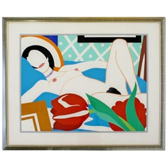 Contemporary Modern Framed Signed Lithograph Monica Nude Tulips Wesselmann
