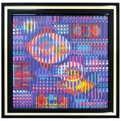 Contemporary Modern Framed Signed Mixed-Media by Farhi Farhigraph Space Dynamics