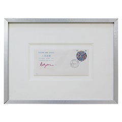 Contemporary Modern Framed Yaacov Agam Signed & Stamped Collectible Envelope