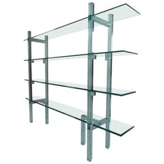 Contemporary Modern Freestanding Glass Bookcase or Étagère