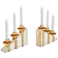 Contemporary Modern French Brass and Methacrylate Pair of Candelabra