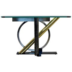 Contemporary Modern Geometric Mixed Metals Glass Console Table Kaizo Oto DIA