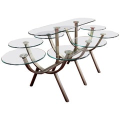 Contemporary Modern Glass & Steel Banquet Dining Table DIA 1980s Circle of Life