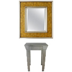 Contemporary Modern Gold Gilt Aluminum Wall Mirror and Console Foyer Table