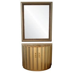 Contemporary Modern Gold Gilt Wall Mirror Demilume Console Foyer Table Cabinet