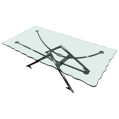 Contemporary Modern Gunmetal Chipped Edge Glass Coffee Table Memphis Style 1980s
