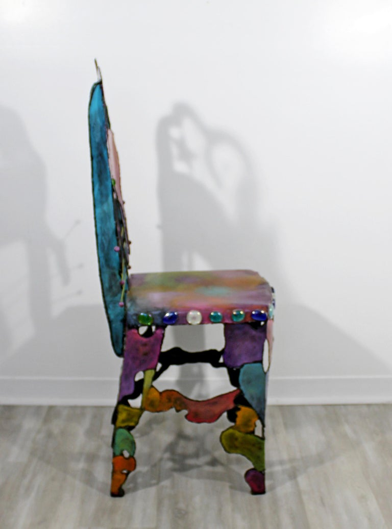 Superb Contemporary Modern Hand Painted Metal Art Side Accent Chair Cat Star Moon 1990S Machost Co Dining Chair Design Ideas Machostcouk