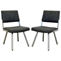 Contemporary Modern Harter Corp Pair of Gray Office Accent Chairs Steel Bases