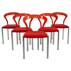 Contemporary Modern Hartmut Lohmeyer Set of 5 Red Lotus Stacking Chairs Kusch