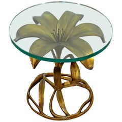Contemporary Modern Hollywood Regency Brass Glass Flower Side Table Arthur Court
