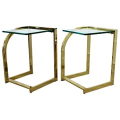 Contemporary Modern Hollywood Regency Pair of Brass and Glass Side End Tables