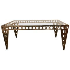Contemporary Modern Industrial Italian Glass Top Metal Table