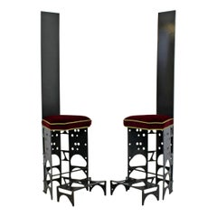 Contemporary Modern Ironsworks King and Queen Pair of Iron Art Chairs & Ottomans