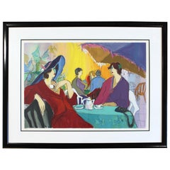 Contemporary Modern Isaac Maimon Framed Hand Signed Serigraph Cafe Select