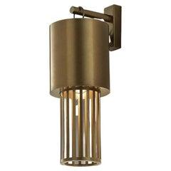 Contemporary Modern Italian Design Futurist Tubular Bronze Finish Steel Sconce