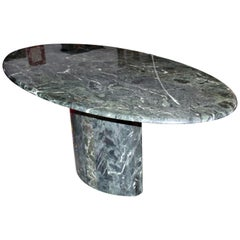 Contemporary Modern Italian Green Marble Oval Dining Table, 1980s