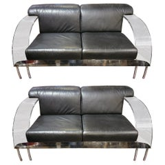 Contemporary Modern Italian Lucite, Chrome and Leather Sofa