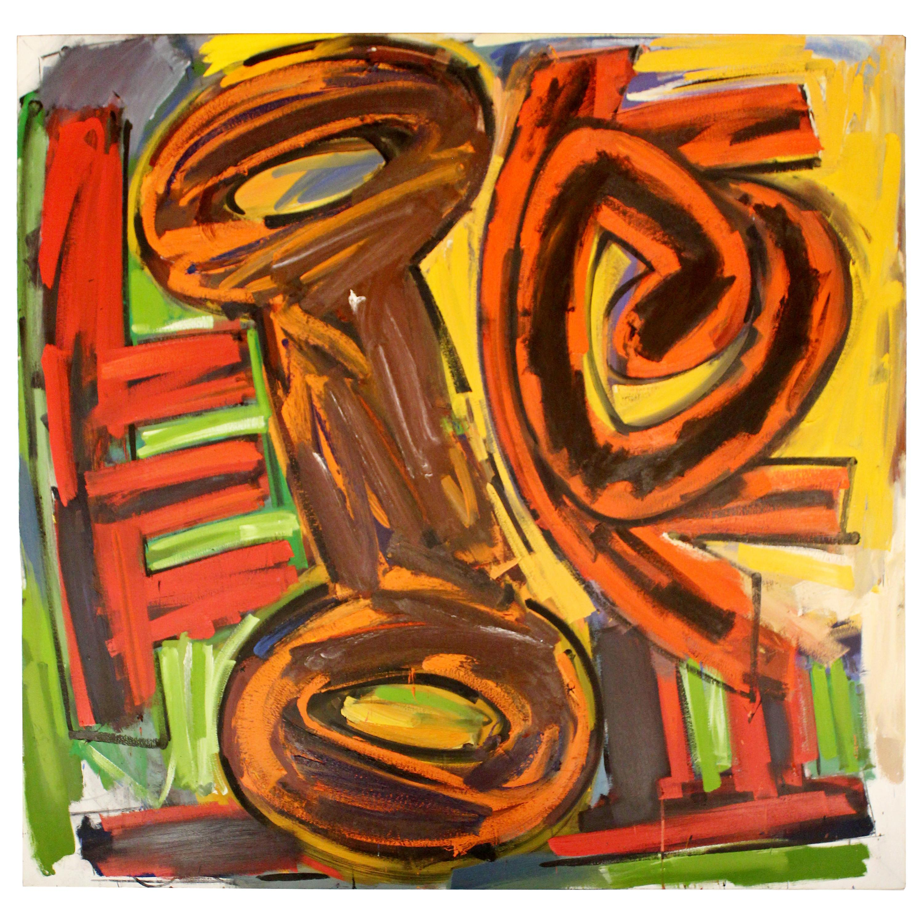 Contemporary Modern Large Abstract Acrylic Canvas Painting Hugh O'Donnell, 1980s