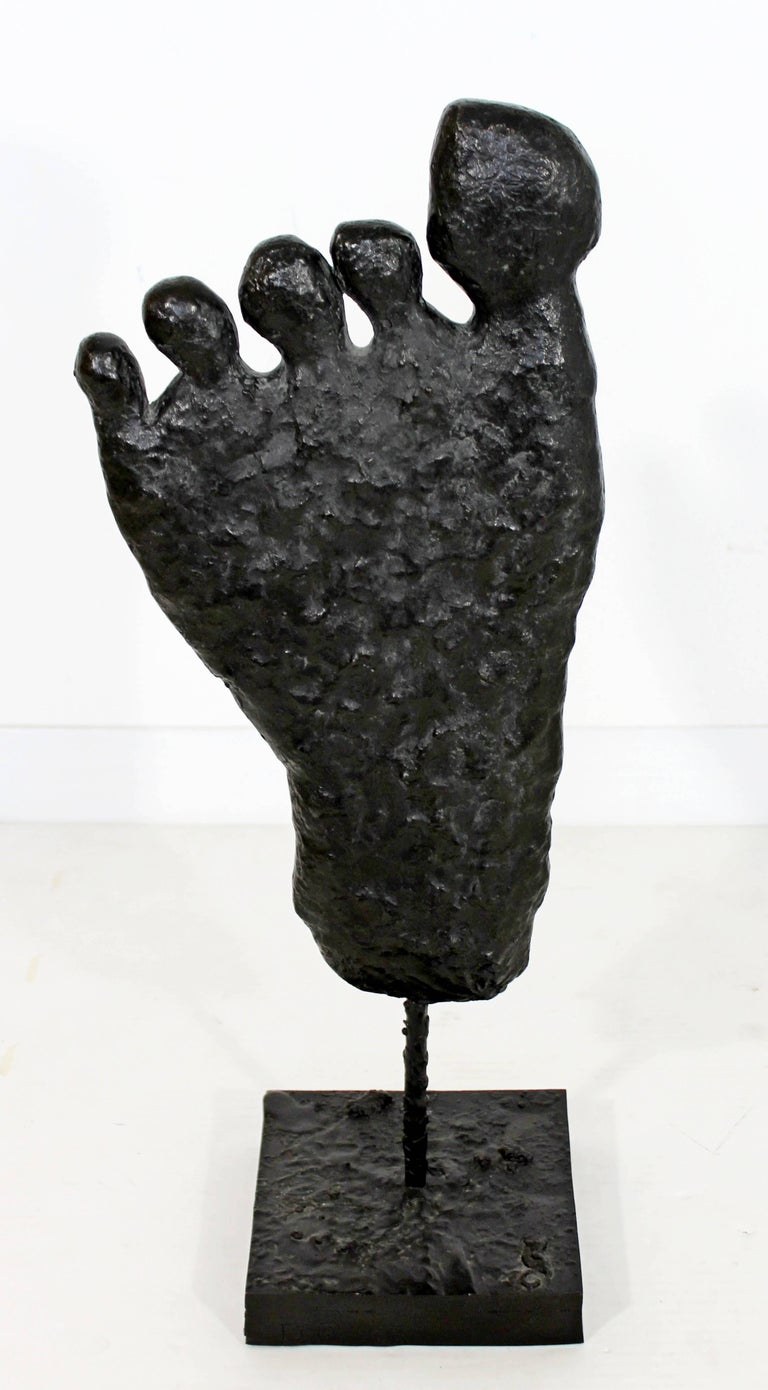 For your consideration is a bronze table sculpture of a foot, signed and numbered 2/2 A.P. by Donald Baechler, circa 2003. In excellent condition. The dimensions are 9.5