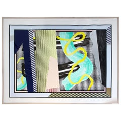 Contemporary Modern Large Framed Colored Serigraph Signed Roy Lichtenstein, 1990