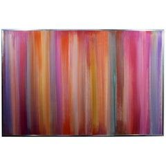 Contemporary Modern Large Framed Irene Simon Gouache Rainbow Painting