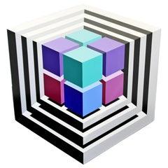 Contemporary Modern Large Pop Op Art Cube Sculpture Signed Frank Grimaldi, 1996