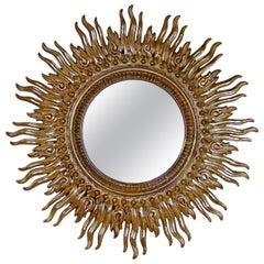 Contemporary Modern Large Sunburst Gold Gilt Plastic Wall Sculpture Mirror