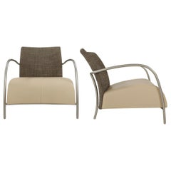 Contemporary Modern Leather and Steel Armchairs Lignet Roset Attributed, a Pair