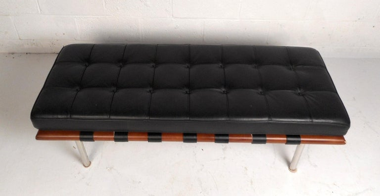 Mid-Century Modern Contemporary Modern Leather Bench For Sale