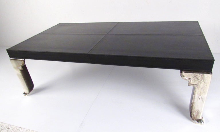 Modern Coffee Table with Leather Top In Good Condition For Sale In Brooklyn, NY