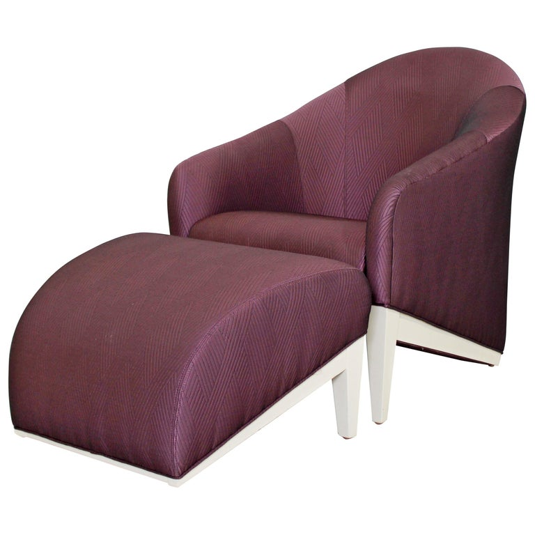 Contemporary Modern Lounge Chair & Ottoman  For Sale