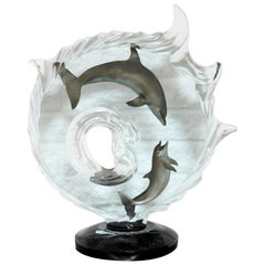 Contemporary Modern Lucite Acrylic Table Sculpture Dolphin Surf Riders Medina