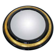 Contemporary Modern Maitland Smith Convex Round Gold Gilt Wood Wall Mirror 1980s