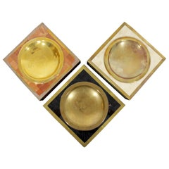 Contemporary Modern Maitland Smith Set 3 Tessellated Stone Brass Vide Poche Bowl