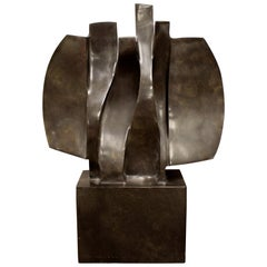 Contemporary Modern Marble Abstract Table Sculpture Signed Faustino Aizkorbe 90s