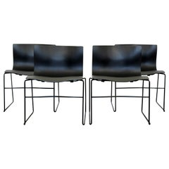 Contemporary Modern Massimo Vignelli Knoll Set of 4 Handkerchief Side Chairs